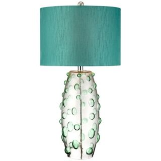 Possini Euro Faroe Teal Art Glass Table Lamp   #X0296