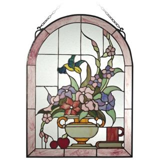 "Dale Tiffany Hummingbird 24"" High Art Glass Window Panel   #X2669"