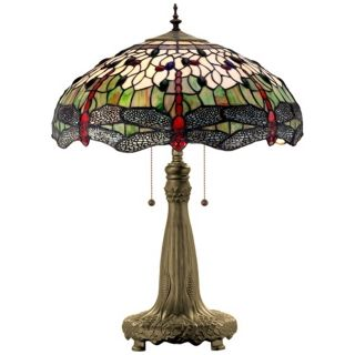 Dragonfly Tiffany Art Glass Table Lamp   #R3598