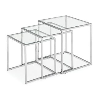 Silhouette Set of 3 Glass and Chrome Nesting Accent Tables   #20895