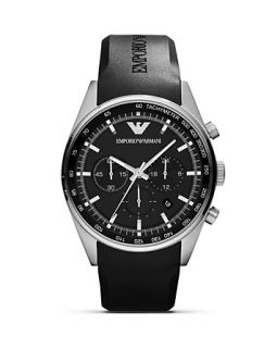 Emporio Armani Black Rubber Strap Watch, 43mm