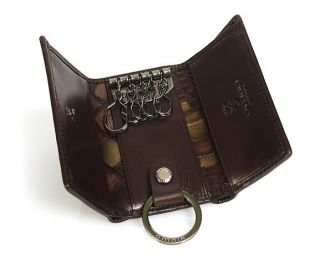 Mens & Womens Genuine Leather Key Chain Holder Case Wallet Black Brown