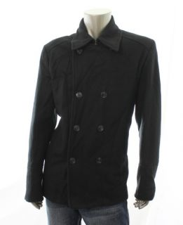 Kenneth Cole Reaction New Black Mens Long Sleeve Wool Coat Top Size XL