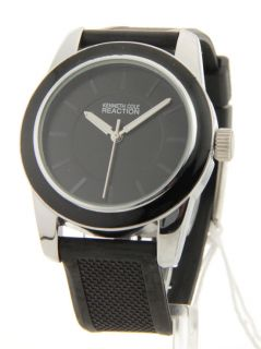 Kenneth Cole Rubber Black White Band Womens Watch RK6011