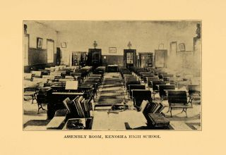 1931 Print Kenosha High School Wisconsin Education Room Original
