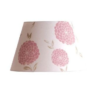 NEW 16 in. Wide Floral Barrel Lamp Shade, White, Pink, Printed Fabric