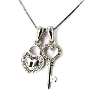 West Coast Jewelry Silvertone Crystal Heart Lock and Key Polished