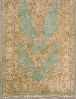 Green Ivory Persian Kerman Oriental Wool Runner Area Rug Carpet