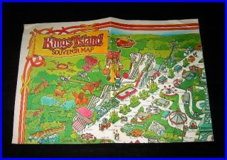 Vintage Large 1982 Souvenir Map Kings Island AP Ohio
