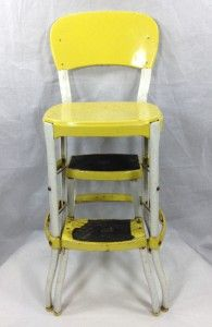 Cosco Yellow White Step Stool Retro 1950s Kitchen Counter Chair