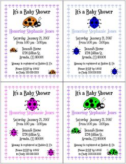 Personalized Lady Bugs Ladybugs Baby Shower Party Invitations