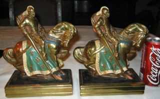 Knight War Horse Sword Art Statue Sculpture Bookends Mint