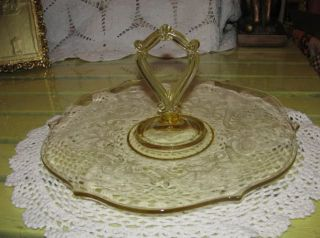 1932 Topaz Lancaster Landrum Yellow Depression Glass Handled Serv Tray