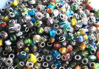 Lots Various Charms Murano Glass Lampwork Beads Spacer Big Hole