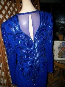 Diva Drag Blue Beaded Gown Formal Dress Plus XL 42 38 40