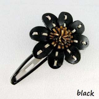 Pretty Genuine Leather Flower Hair Clip Holders