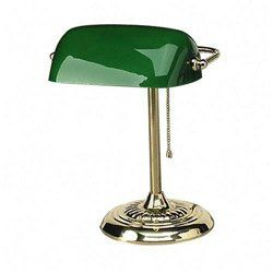 Ledu Traditional Bankers Desk Table Lamp 14 High Green Glass Shade