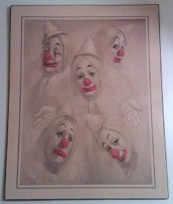 Leighton Jones Five Circus Clowns Litho Print on Board
