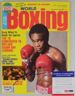 Sugar Ray Leonard Authentic Signed 1982 Boxing World Magazine PSA DNA