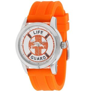New Tommy Bahama Relax Lifeguard Mens Round Analog Steel Watch Orange
