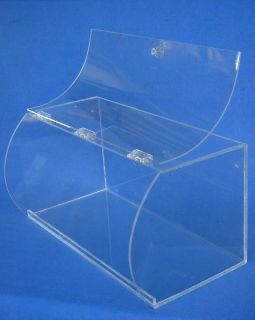 20 Acrylic Plastic Lucite Clear Counter Top Hinged Display Case