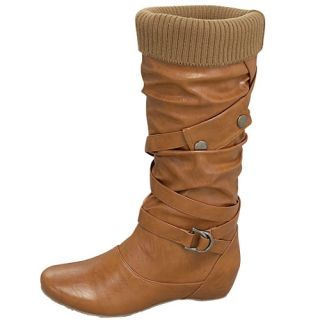 Top Moda Tan Brown Fashion Faux Leather Strap Buckle Mid Calf Boots US