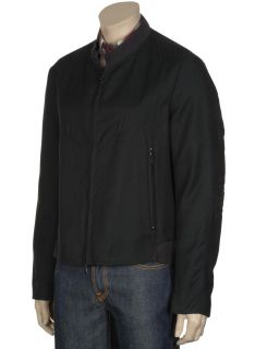 Luca Venturini Mens Black Bomber Jacket Made in Italy 44R Euro 54 $650