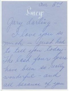 Lucille Ball Very Personal Love Letter Gary Morton Signed Handwritten