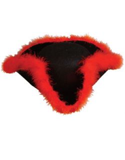 Adult Costume Black Pirate Hat with Red Fur Trim