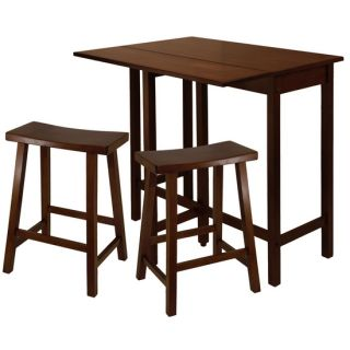 Winsome Wood Lynnwood 3 PC Set with 24 Saddle Seat Stools
