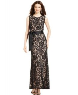 Betsy & Adam Dress, Sleeveless One Shoulder Lace Gown