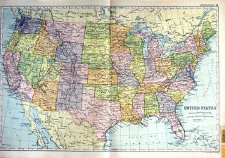1910 Map United States America Florida Gulf Mexico
