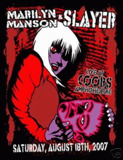 Marilyn Manson Slayer Denver 2007 Concert Poster Kuhn