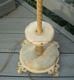 Antique Vintage Art Deco Onyx Slag Marble Floor Lamp