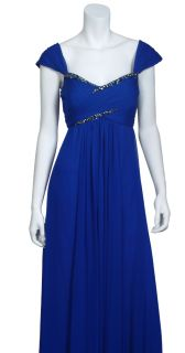Marchesa Notte Electric Cobalt Ruched Silk Chiffon Beaded Eve Gown