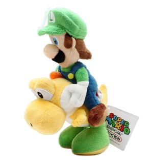 Nintendo Super Mario 9 quot Plush Sanei Doll Luigi Riding Yellow Yoshi