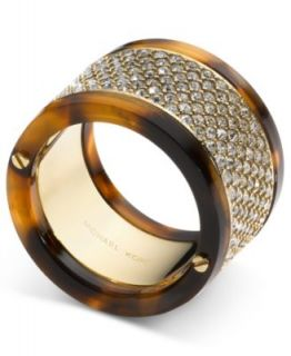 Michael Kors Ring, Gold Tone Tortoise Pave Barrel Ring
