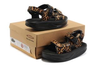 MBT Brown Leopard Print 2 Sandals Rocker Bottom Shoes