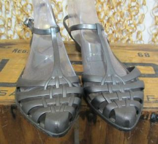 Melissa Womens Cute Gray Jelly Shoes Ankle T Strap Flats US 9 EUR 38