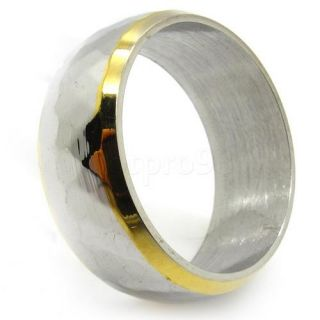 Mens Gold Silver Rhomb Finger Wedding Ring Stainless Steel Stunning