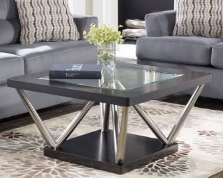MODERN SQUARE METAL BASE & GLASS TOP COCKTAIL COFFEE TABLE FURNITURE