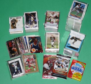 Huge Sports Card Collection Lot Football Packs Baseball Rookies Jersey
