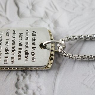 tag military serial number chain poem steel pendant necklace 18 chain