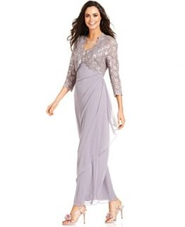 Alex Evenings Petite Dress and Jacket, Sleeveless Sequined Lace Gown