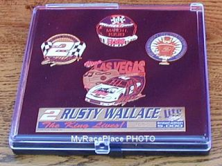Rusty Wallace MILLER BEER ~ ELVIS PRESLEY NASCAR Hat Cap Pin Set in