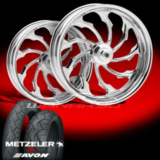 Machine Torque Chrome Wheels Tires for 2009 13 Harley Touring