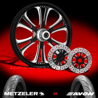 Czar Eclipse 21 Front Wheel, Tire & Dual Rotors for 2000 13 Harley