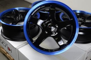 17 5x114 3 Black Blue Wheels Accord S2000 Prelude Civic G35 Eclipse