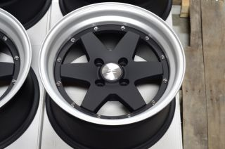 15x8 4x100 Black Rims Integra Civic Lancer Jetta Miata Low Offset 4
