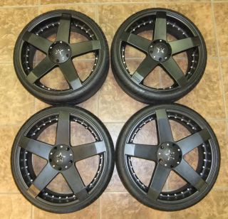 x8 KMC Rockstar 5 Spoke Rims & 225/30ZR20 Tires Great Shape VW Wheels
